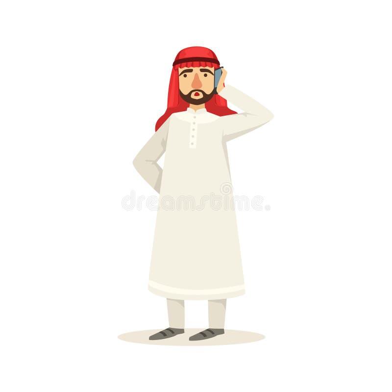 Arabisk muslimsk affärsmanDressed In Traditional Thwab kläder och bärande huvudbonad Kufiya som talar på telefonen vektor illustrationer
