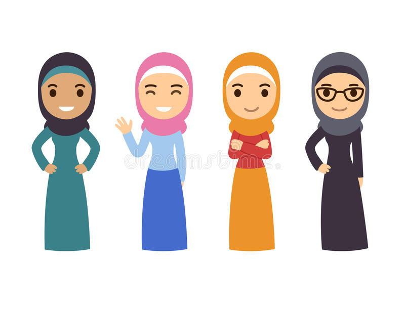 Arabisk muslimsk kvinnauppsättning stock illustrationer