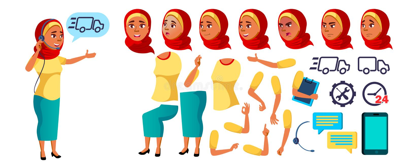 Arabisk muslimsk tonårig flickavektor Animeringskapelseuppsättning Framsidasinnesrörelser, gester Online-hjälpreda, konsulent til royaltyfri illustrationer