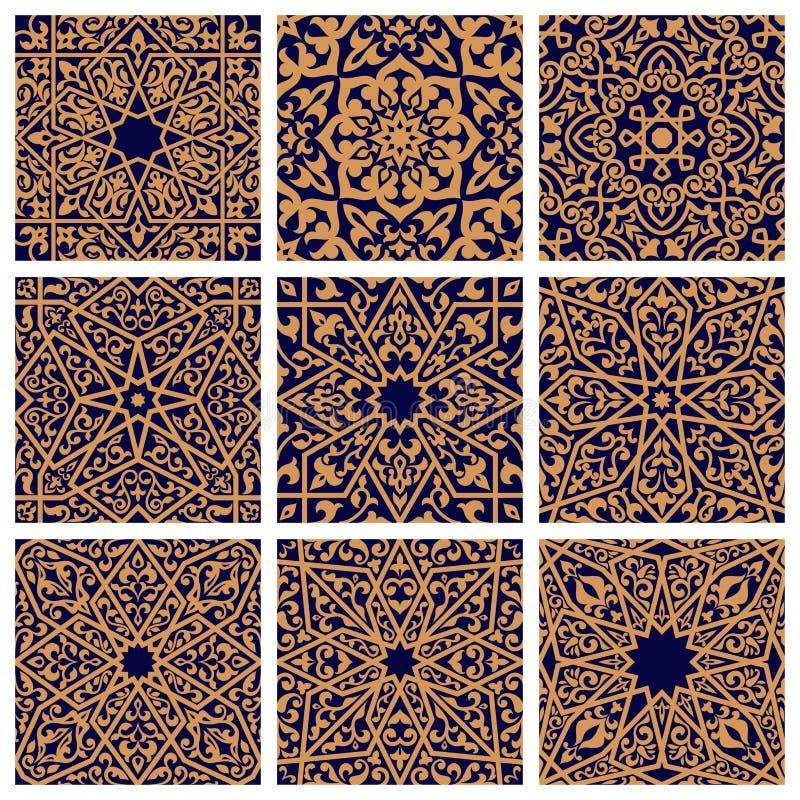 Arabisk sömlös blom- modelluppsättning för tegelplattadesign royaltyfri illustrationer