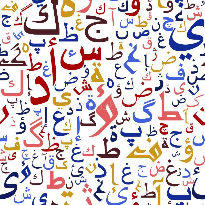 Arabisk sömlös skriftmodell royaltyfri illustrationer
