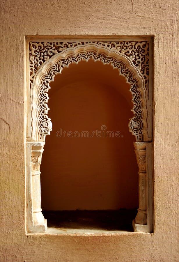 Arabisk slott av Alcazabaen, Malaga, Andalusia, Spanien arkivfoto