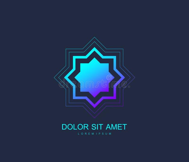 Arabisk stil för mall för vektorlogodesign Abstrakt islamiskt symbol Emblem för lyxiga produkter, boutique, smycken vektor illustrationer