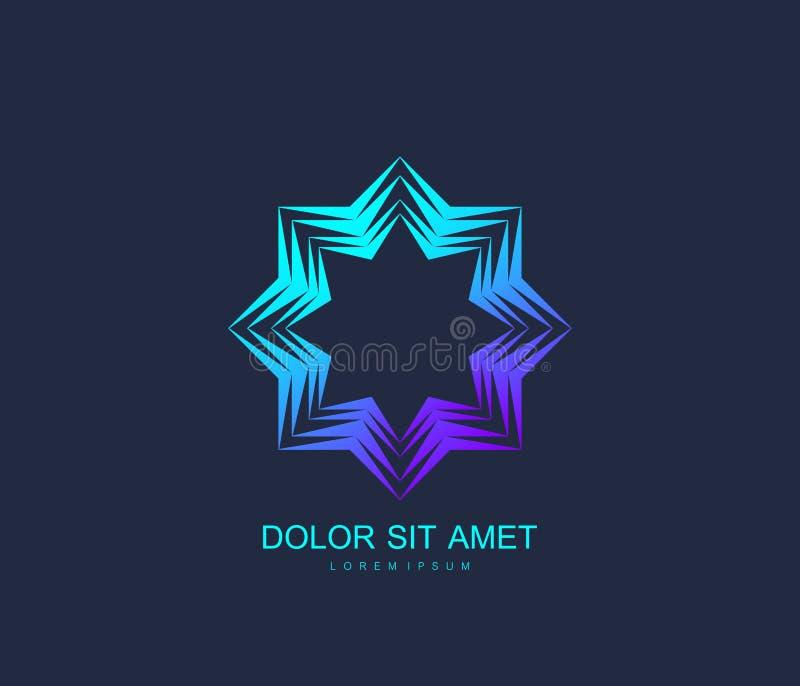 Arabisk stil för mall för vektorlogodesign Abstrakt islamiskt symbol Emblem för lyxiga produkter, boutique, smycken stock illustrationer