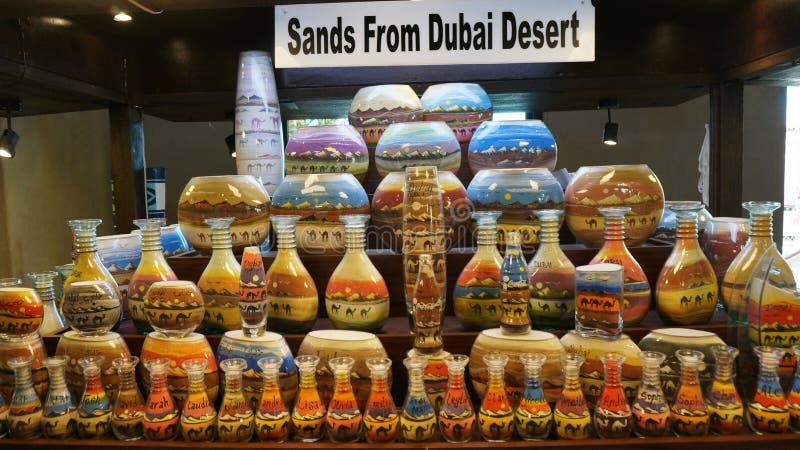 Arabisk traditionell sand lägger in i Dubai den gamla marknaden royaltyfria bilder