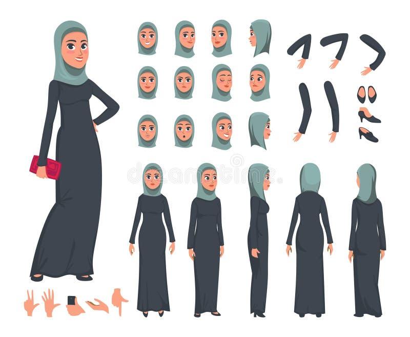 Arabisk uppsättning för kvinnateckenkonstruktör i plan stil Den muslimska flickan DIY ställde in med olika ansiktsuttryck och rör vektor illustrationer
