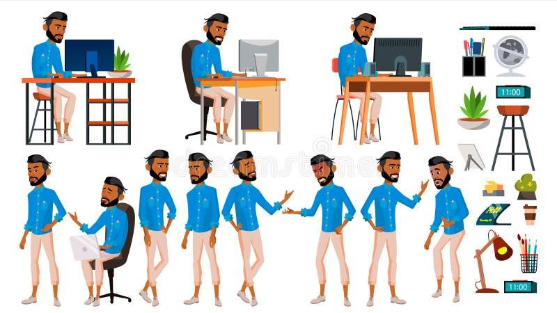 Arabisk vektor för arbetare för manuppsättningkontor Emirater Qatar, UAE muslim islamiskt Sinnesrörelser gester Uppsättning livss stock illustrationer