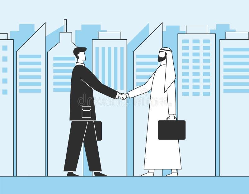 Arabiska affärsmän, affärshandskakning Muslimska aktieägare på bakgrunden av stadsskyskrapor Plan illustration stock illustrationer