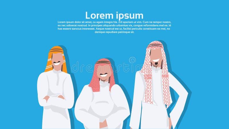 Arabiska affärsmän som tillsammans står olik kroppstyp som bär den manliga tecknade filmen för traditionell affärsman för kläder  royaltyfri illustrationer