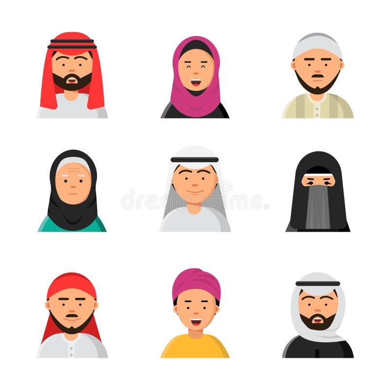 Arabiska avatars Islammuslimstående av manliga och kvinnliga symboler för lägenhet för hijabniqabvektor för rengöringsduk stock illustrationer