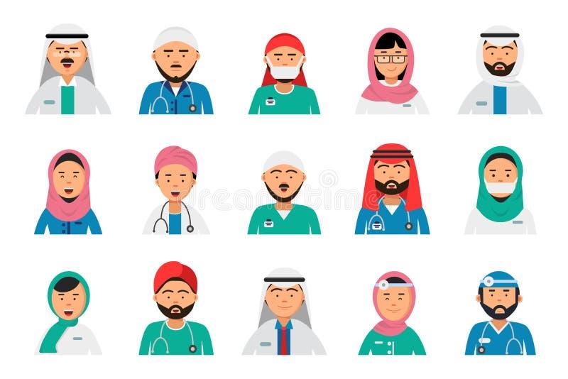 Arabiska doktorsavatars Tandläkaresjuksköterskaman och kvinnliga arabiska muslim yrken för sjukvård för vektor för islamsjukhuspe royaltyfri illustrationer