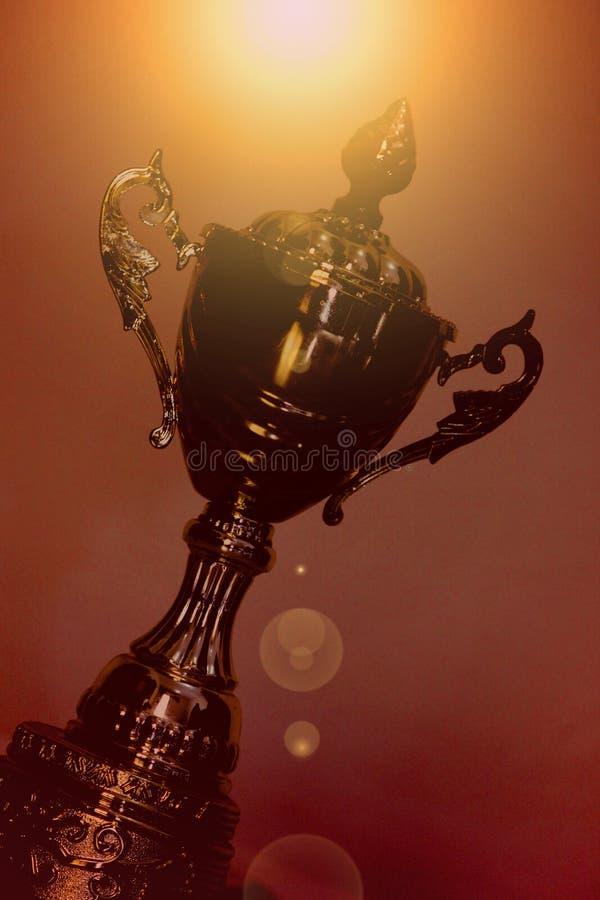 ARABISKA EMIRATER FÖR DUBAI-UNITED PÅ 21 JUNI 2017 Flott bildskottsikt av den filtrerade guld- trofén för mästare, naturlig bakgr royaltyfria bilder