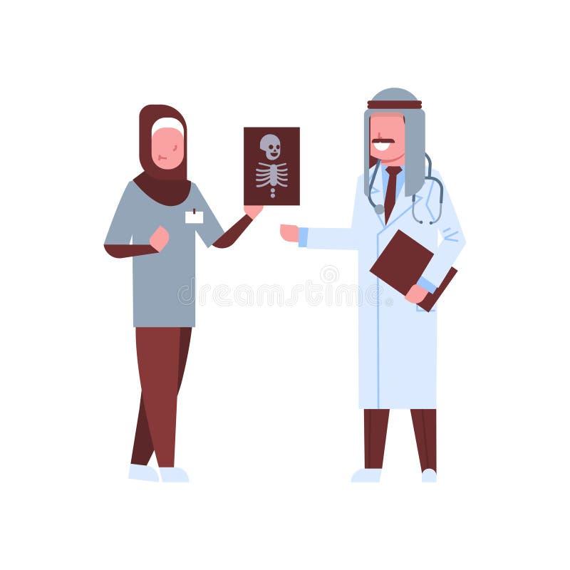 Arabiska för röntgenstrålesjukhus för doktor som och för sjuksköterska undersökande arbetare ser tålmodig full längd för röntgenf vektor illustrationer
