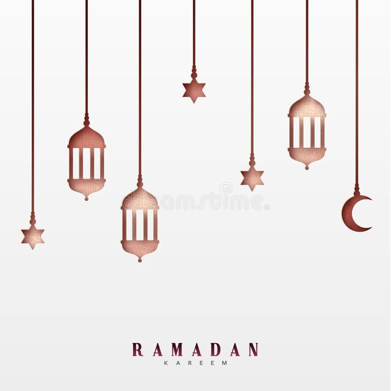 Arabiska lyktor eller lampor, hängande halva per månad och en stjärna royaltyfri illustrationer