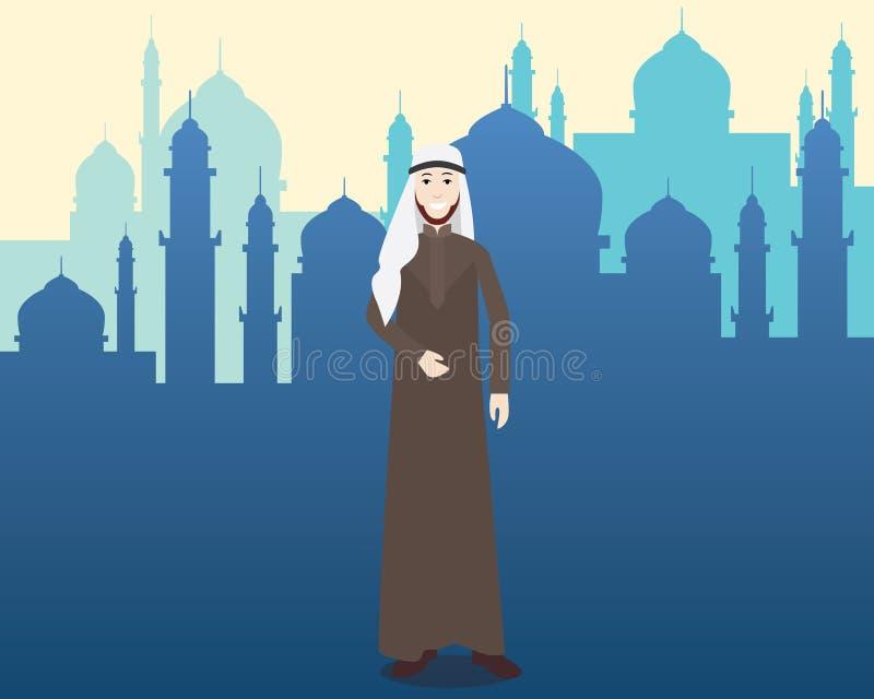 Arabiska moslemmän med moskén som bakgrund stock illustrationer