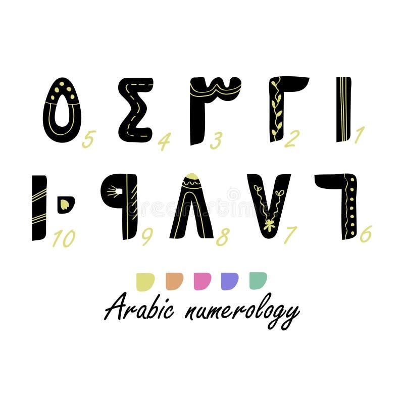 Arabiska numerologydesignbeståndsdelar stock illustrationer