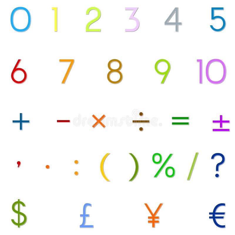Arabiska nummer, arithmetic operationer och valutasymboler stock illustrationer