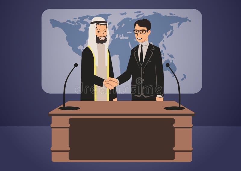 Arabiska och europeiska politiker eller affärsmän som skakar händer Regerings- toppmöte vektorteckenillustration stock illustrationer