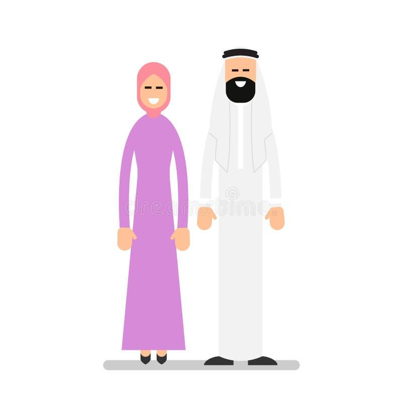 arabiska par Arabisk man och kvinna i traditionell kläderstandin royaltyfri illustrationer