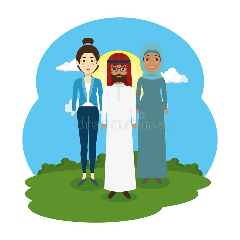 Arabiska par med kvinnan i landskapplatsen stock illustrationer