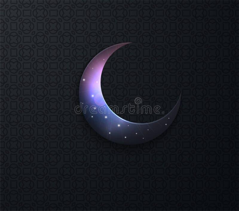 Arabiska ramadan p? svarta backgrounm?nestj?rnor stock illustrationer