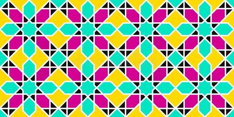 Arabiska sömlösa modeller geometriskt islamiskt för bakgrund Östlig textur för vektor Blommar dekorbeståndsdelar Dekorativ design stock illustrationer