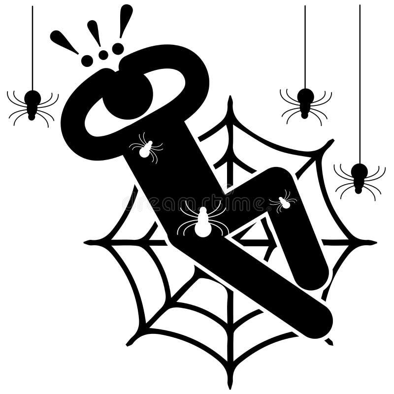 arabiska Skr?ck av spindlar fobi Krypa spindlar Förvecklat i rengöringsduken Afraided man Logo symbol, kontur, klistermärke vektor illustrationer