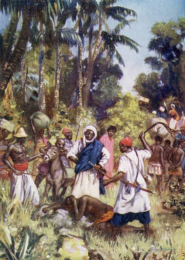 Arabiska slav- affärsmän på arbete i Afrika royaltyfri illustrationer