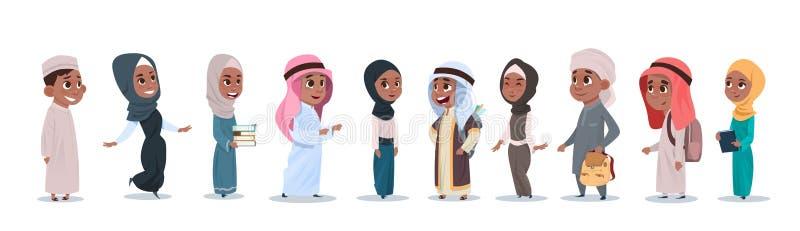 Arabiska studenter för muselman för samling för elever för tecknad film för barnflicka- och pojkegrupp små vektor illustrationer