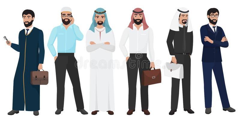 Arabiskt folk för affärsman Manlig folkuppsättning för muslimskt arabiskt kontor royaltyfri illustrationer