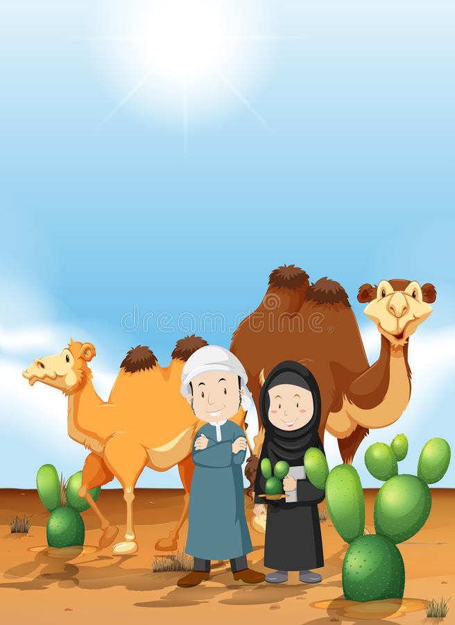 Arabiskt folk och kamel på ökenjordningen vektor illustrationer