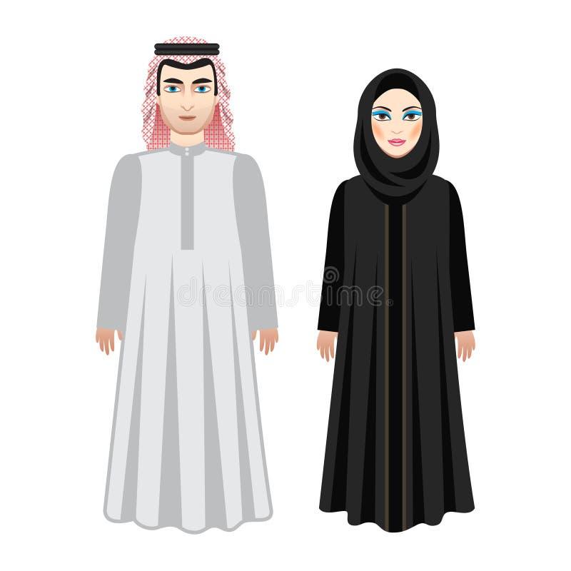 Arabiskt folk, saudierpar Man och kvinna i traditionell dräkt stock illustrationer
