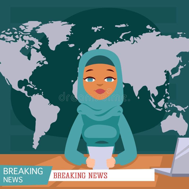 Arabiskt kvinnligt nyheternaankare på tvbreaking newsbakgrund, plan vektorillustration Arabisk reporter för kvinnlig television vektor illustrationer