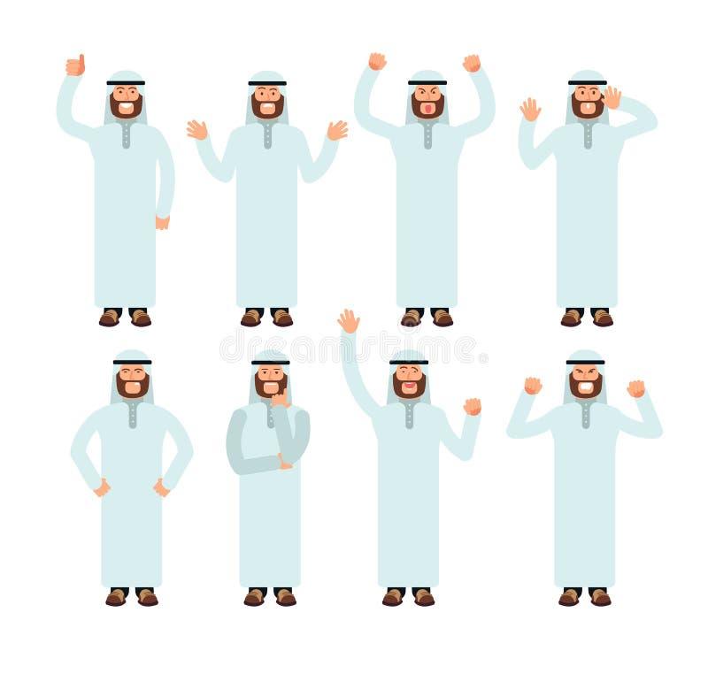 Arabiskt mananseende med olika handgester och framsidasinnesrörelser Manlig uppsättning för muslimvektortecken vektor illustrationer