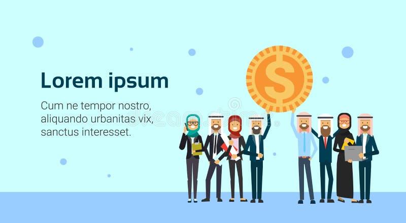 Arabiskt mynt för dollar för håll för ledare för affärsgrupp, begrepp för framgånglagarbete över blå bakgrund, lägenhet, kopierin stock illustrationer