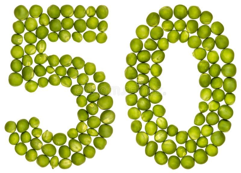 Arabiskt tal 50, femtio, från gröna ärtor som isoleras på vitbac royaltyfri bild