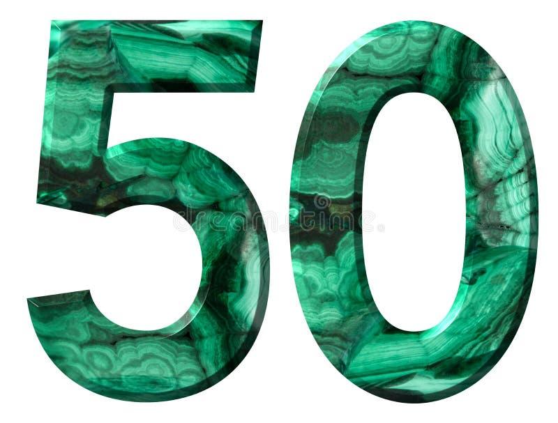 Arabiskt tal 50, femtio, från naturlig grön malakit som isoleras på vit bakgrund vektor illustrationer