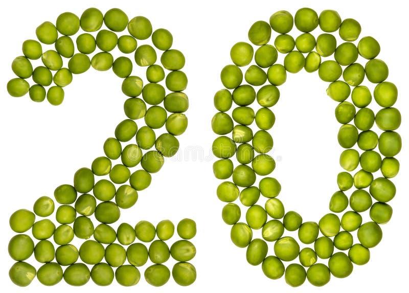 Arabiskt tal 20, tjugo, från gröna ärtor som isoleras på vita lodisar royaltyfri foto