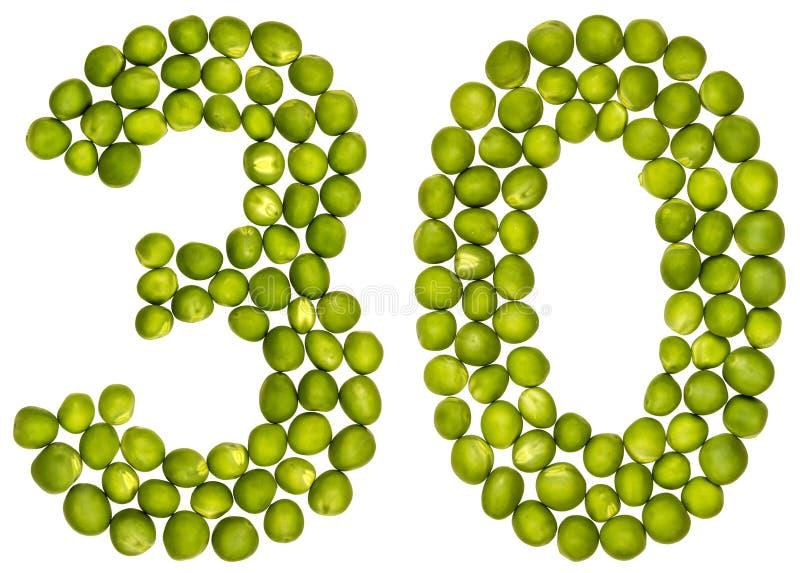 Arabiskt tal 30, trettio, från gröna ärtor som isoleras på vita lodisar arkivbild