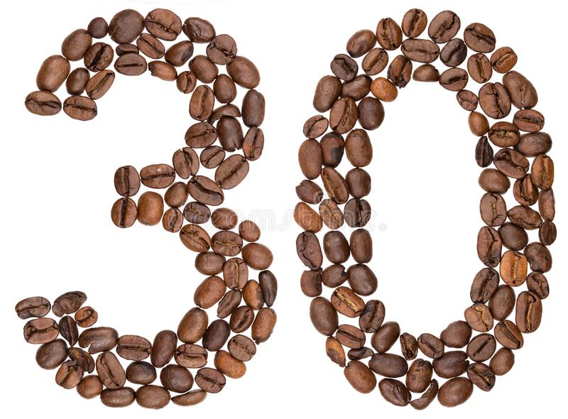 Arabiskt tal 30, trettio, från kaffebönor som isoleras på vit royaltyfria bilder