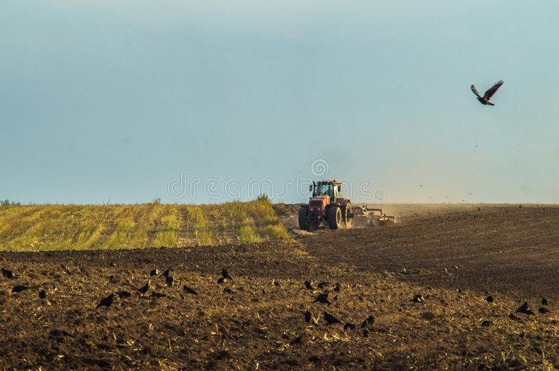 Arable land tractor in the Republic of Belarus. royalty free stock photos
