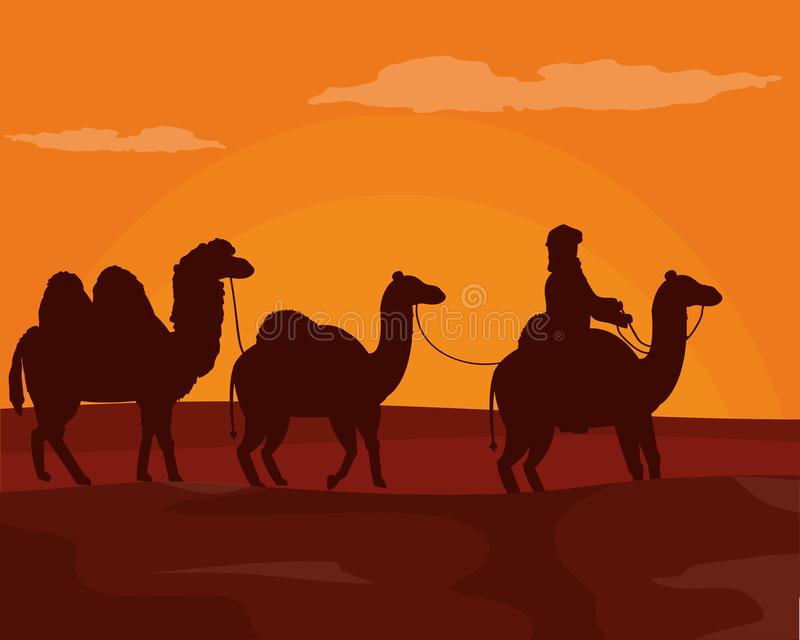 Arabo con i cammelli sul deserto royalty illustrazione gratis