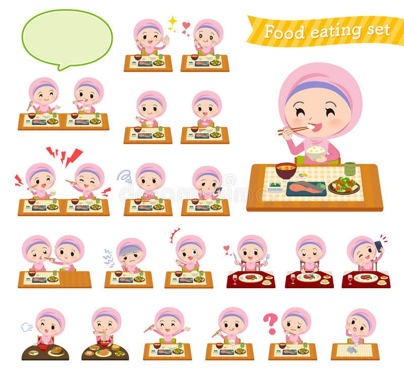 Arabo Hijab girl_Meal royalty illustrazione gratis