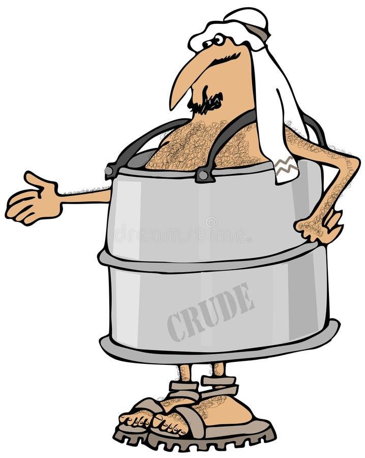 Arabo povero in un barilotto illustrazione di stock