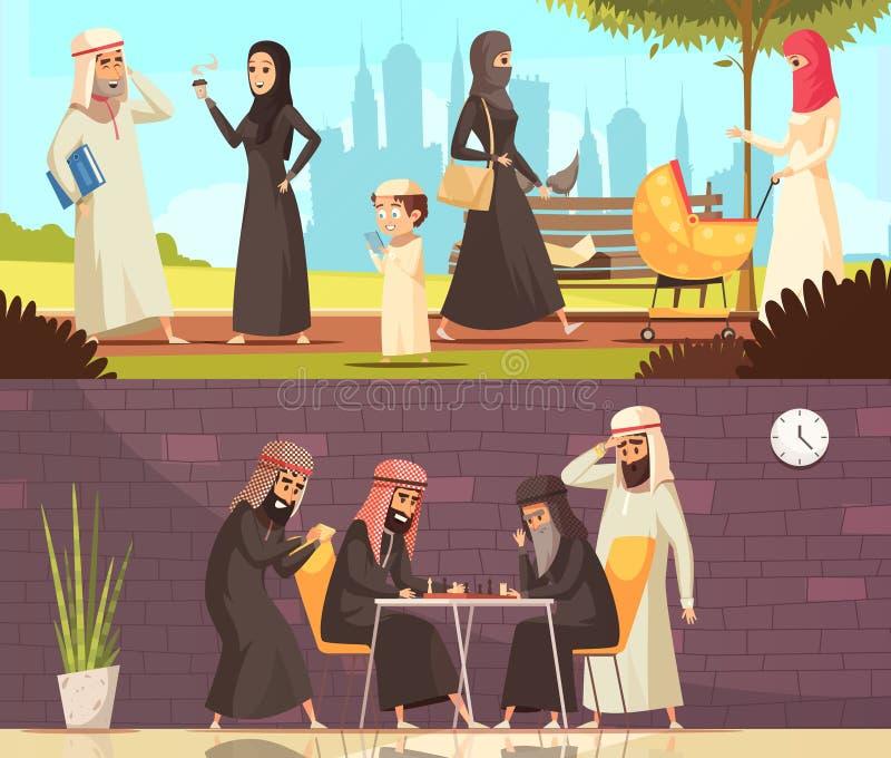 Arabs Work Family Banners Set vector illustration