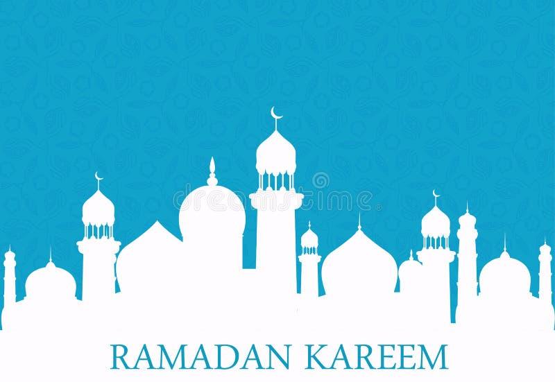 Arabscy biel meczetowi na błękitnym tle kareem Ramadan ilustracja wektor