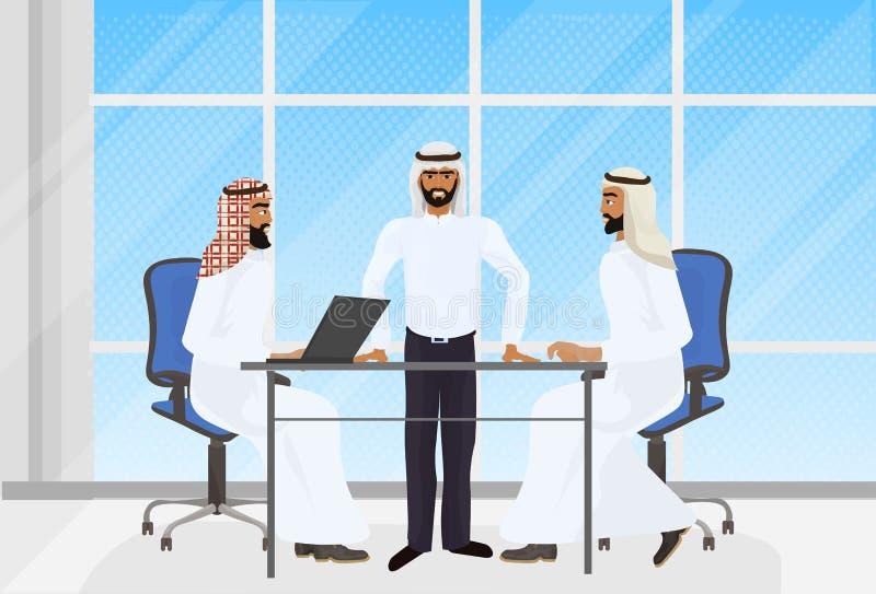 Arabscy ludzie biznesu Brainstorming spotkania W Nowożytnym biurze Z laptopami ilustracja wektor