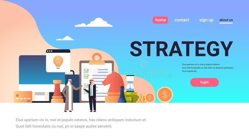 Arabscy ludzie biznesu brainstorming strategii pojęcia projekta nowego pomysł zaczynają up płaską horyzontalną pełną długości kop ilustracja wektor