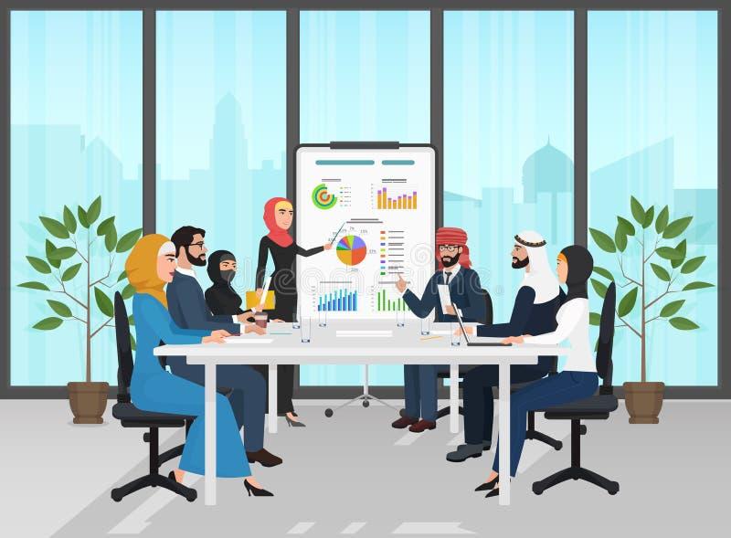 Arabscy muzułmańscy ludzie biznesu grupowej prezentaci w biurze Arabskich biznesmenów drużynowa stażowa konferencja spotkanie ilustracji