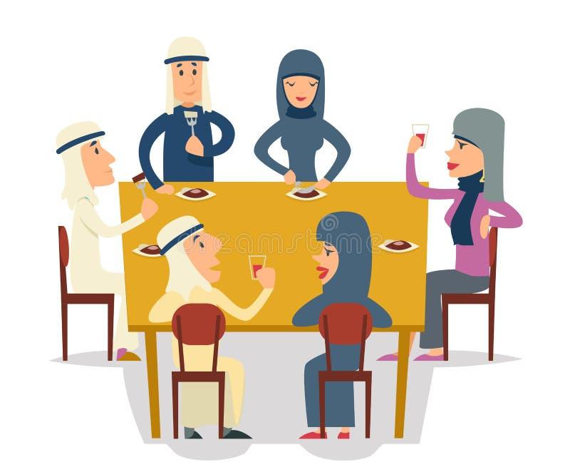 Arabscy rodziny grupy przyjaciele Jedzą posiłków charakterów świętowania Meating przyjęcia kreskówki projekta wektoru ilustrację royalty ilustracja